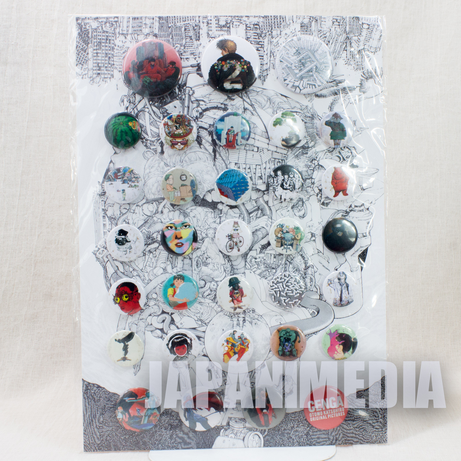 Katsuhiro Otomo GENGA Exhibition 2012 Can Button Badge Pins 32pc Set AKIRA
