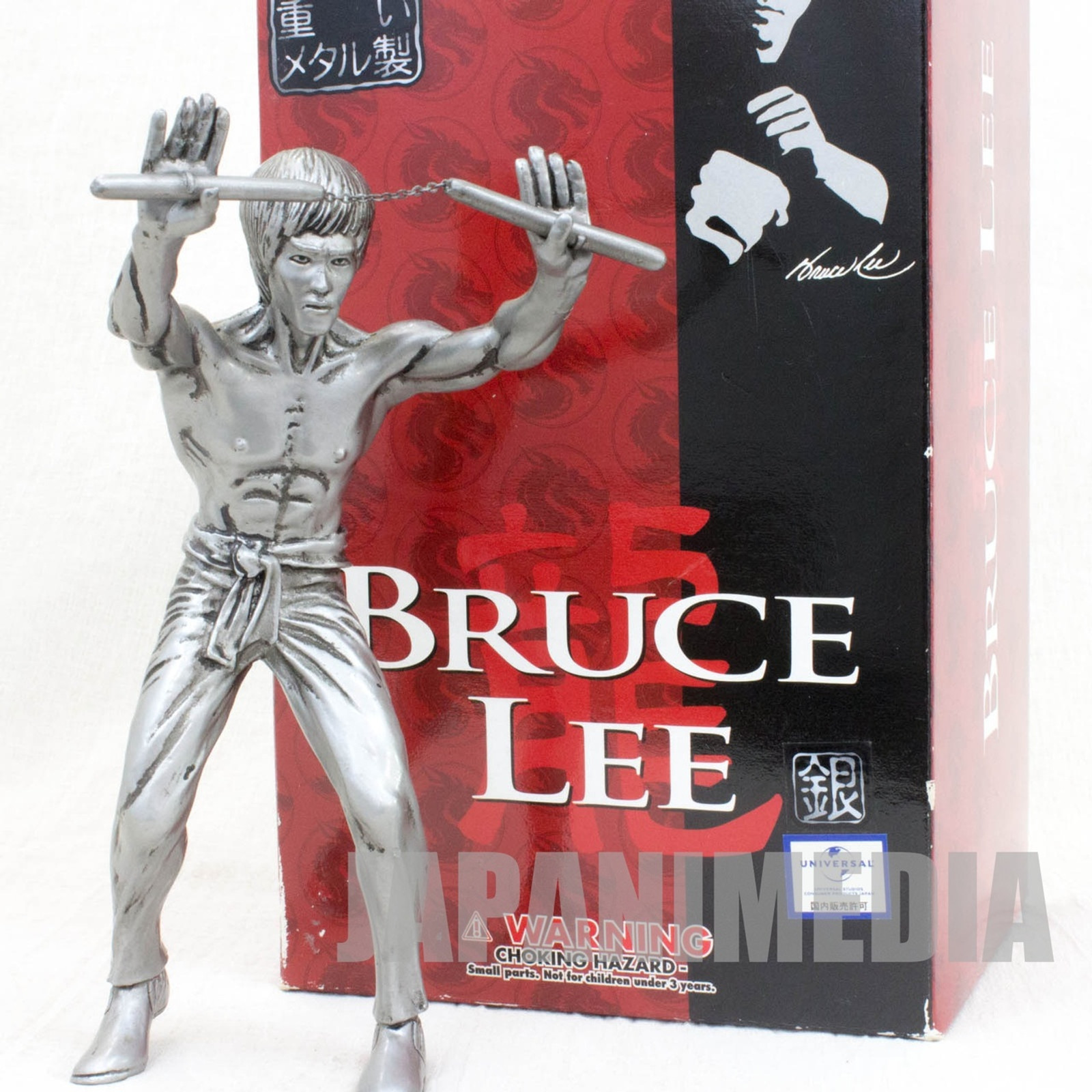 BRUCE LEE Metal Statue Figure Silver ver. Medicom Toy JAPAN KUNG FU MOVIE