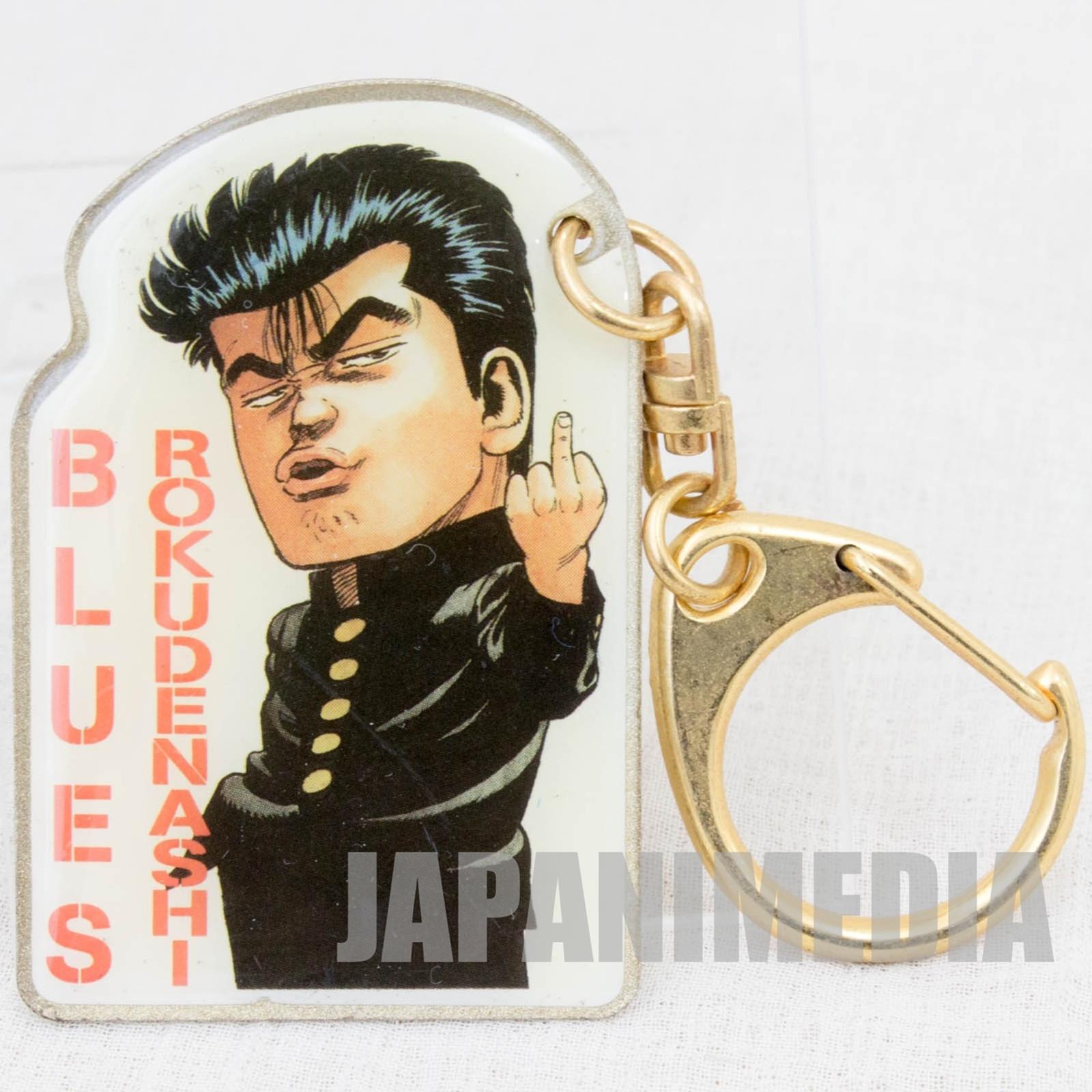 Retro RARE! Rokudenashi Blues Maeda Taison Metal Plate Keychain JAPAN ANIME JUMP