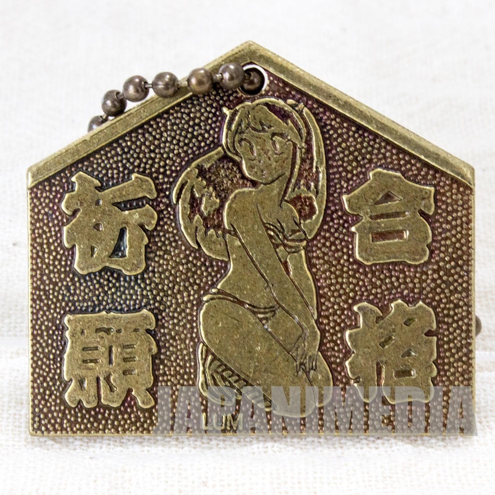 Retro RARE Urusei Yatsura Metal Mascot Keychain LUM Kotatsu Neko JAPAN