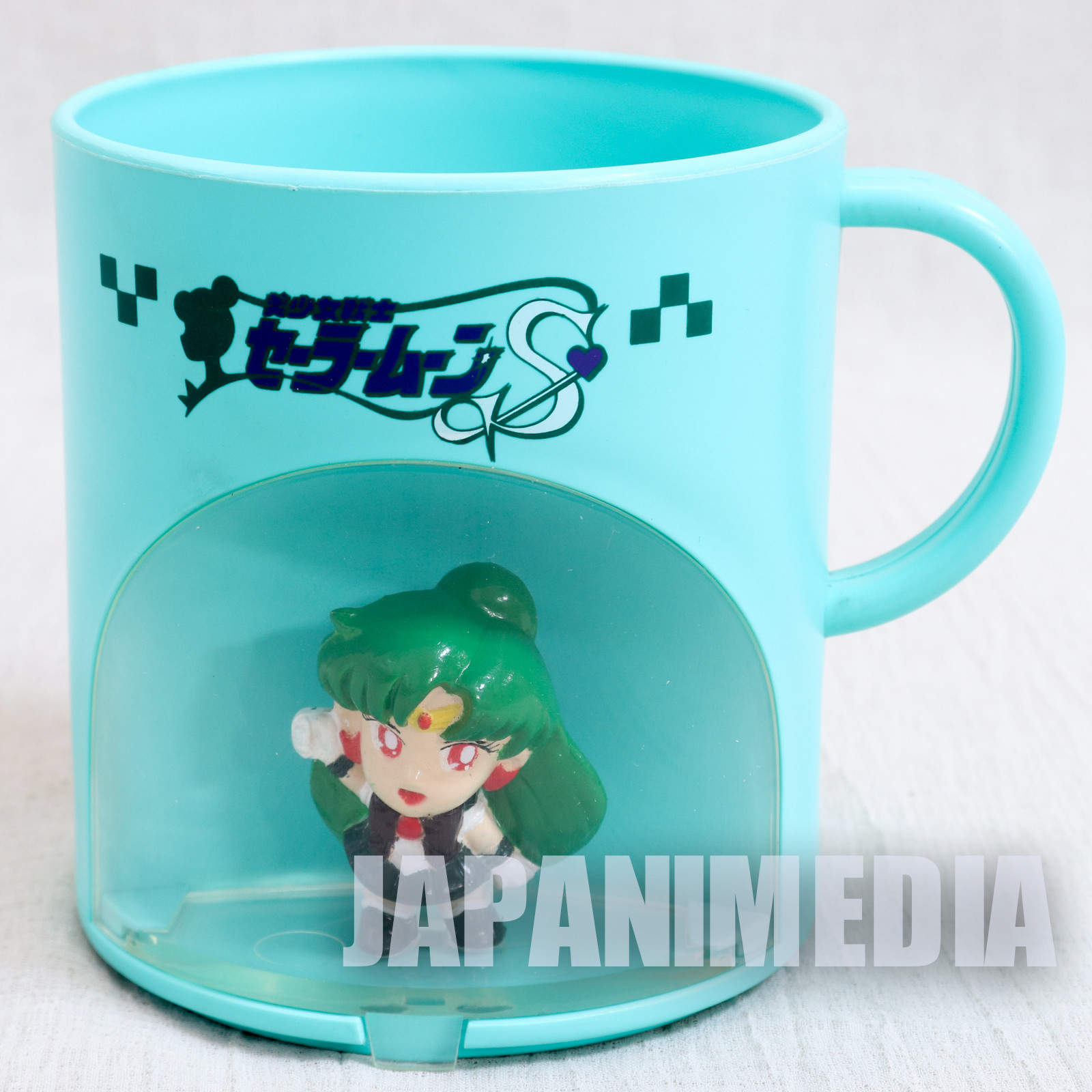 Sailor Moon S Sailor Pluto (Setsuna Meiou) Figure in Plastic Mug Banpresto 1994 JAPAN
