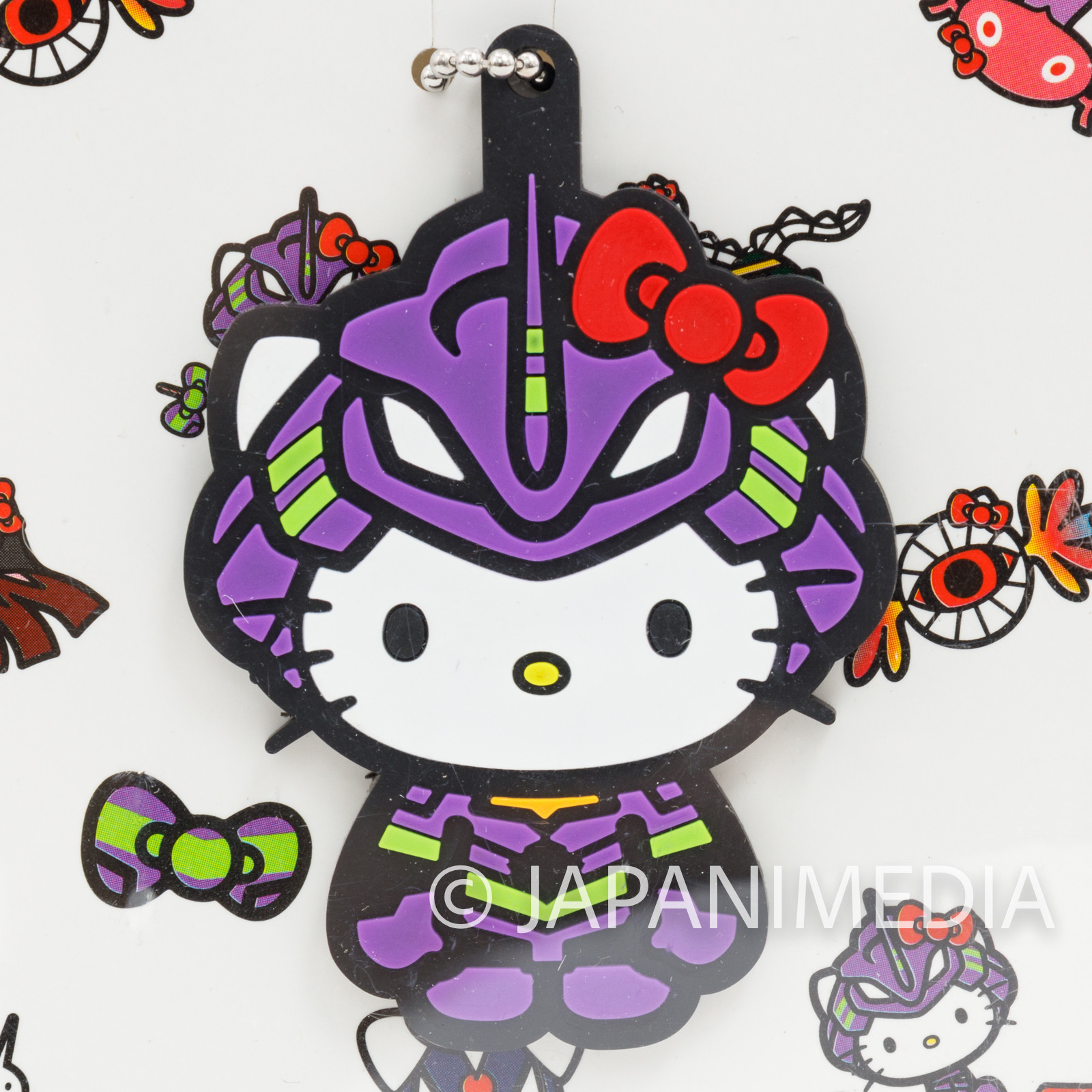 Evangelion EVA01 x Hello Kitty Rubber Mascot Ballchain JAPAN ANIME MANGA