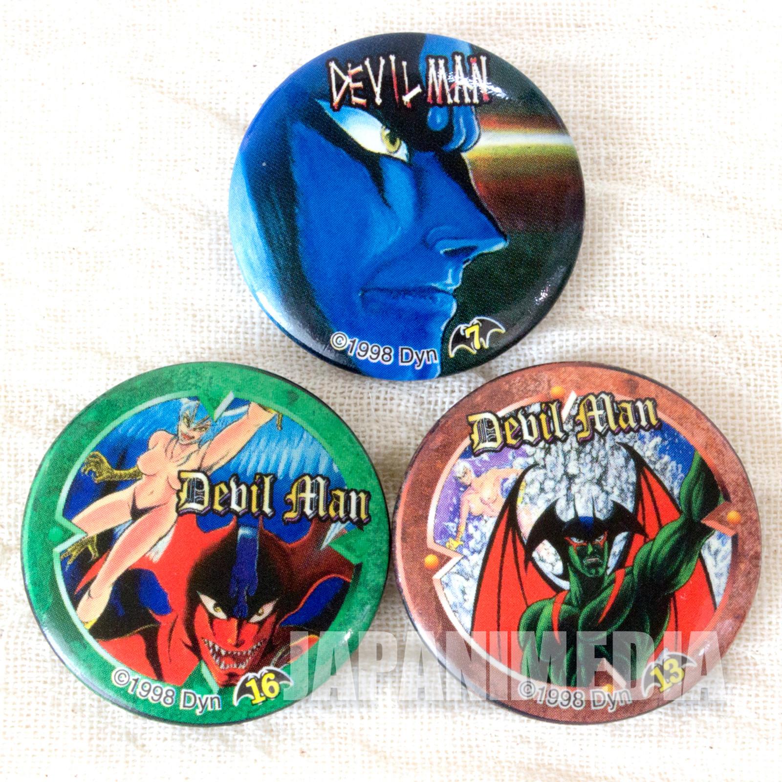 Devilman Button Badges 3pc Set JAPAN ANIME