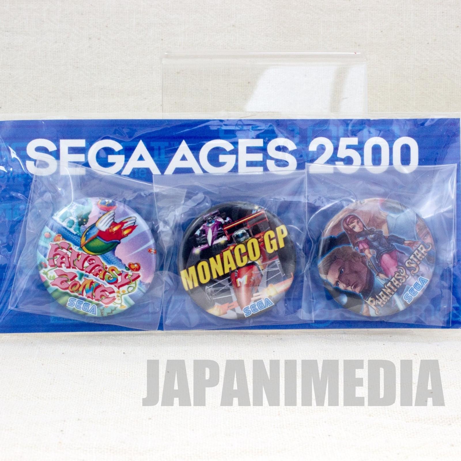 SEGA AGES 2500 Button Badge 3pc Set Fantasy Zone Monaco GP Phantasy Star