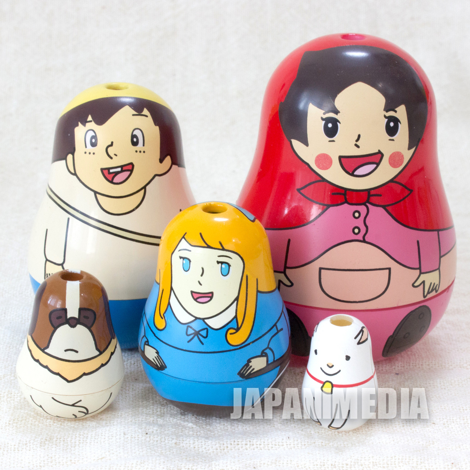 Retro RARE Heidi Girl of the Alps Heidi Matryoshka [Heidi/Peter/Clara/Josef/Yuki] JAPAN TOMY FIGURE