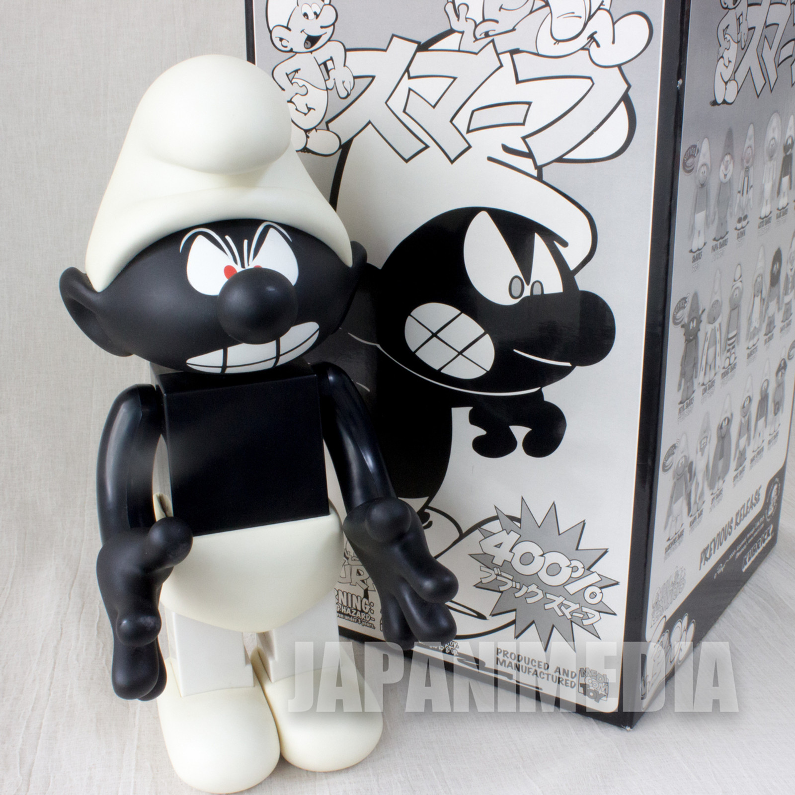 RARE! Kubrick 400% Black Smurf Figure Medicom Toy JAPAN SMURFS