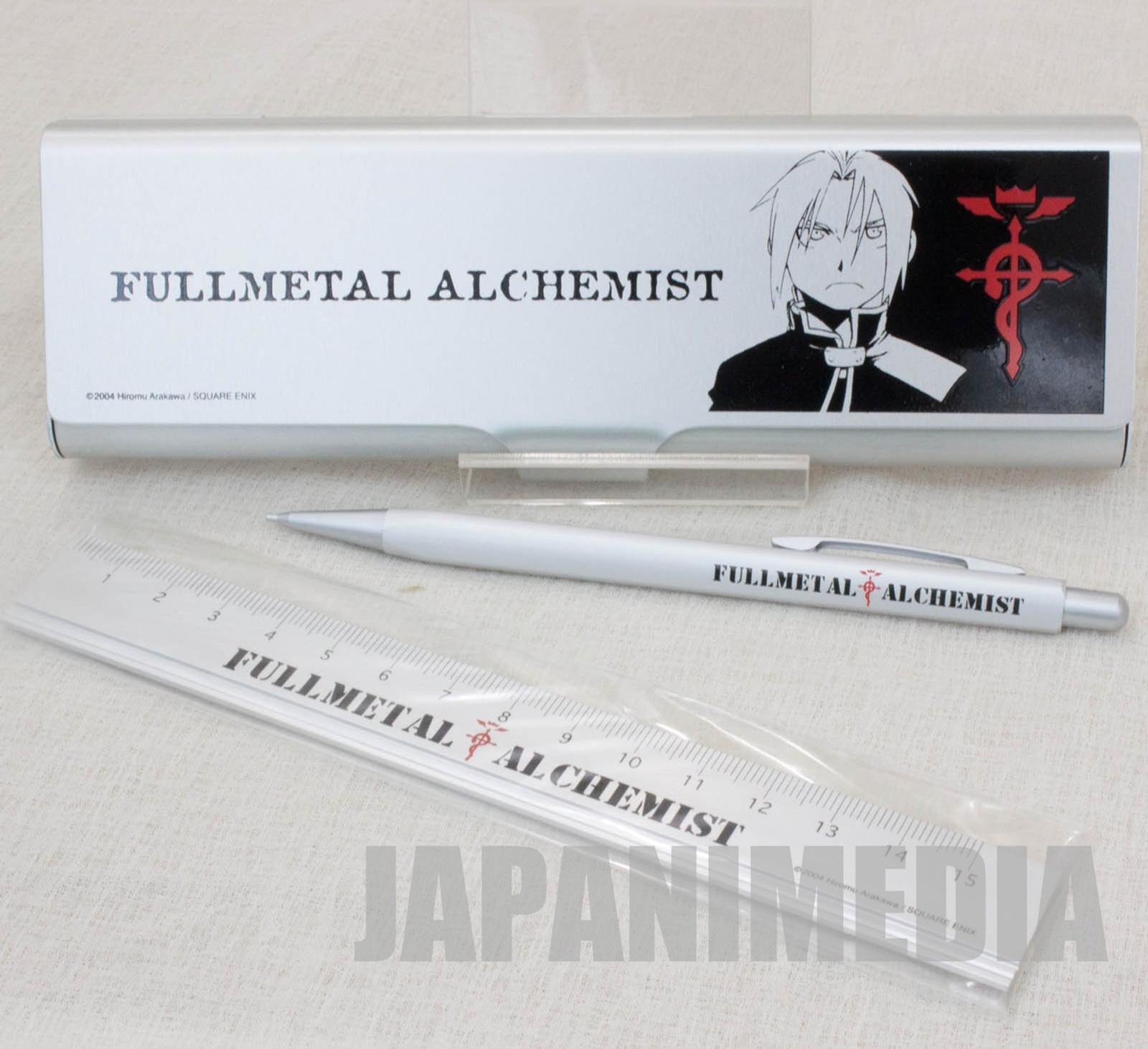 Fullmetal Alchemist Edward Elric Stationery Set [Pen Case,Pencil,ruler] JAPAN