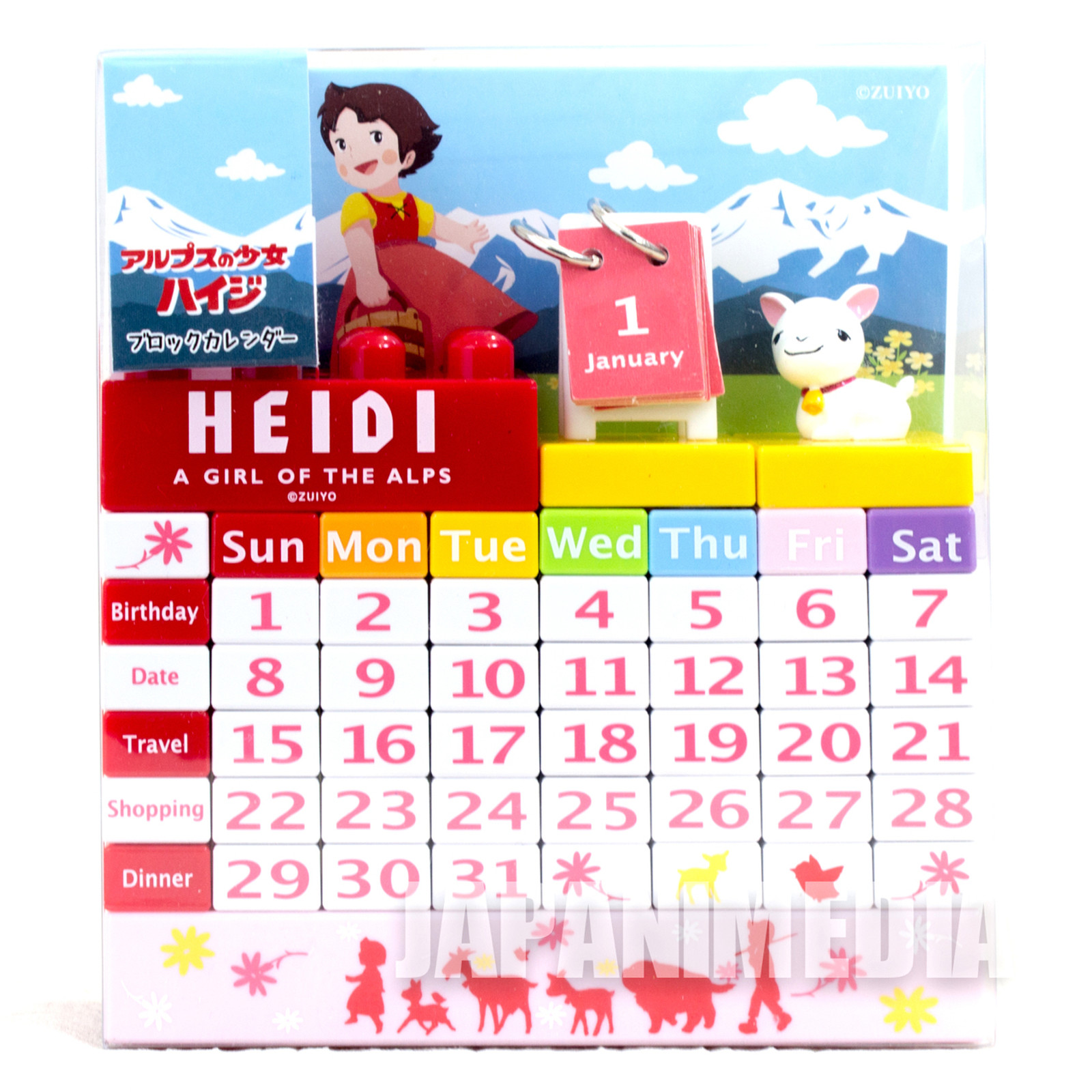 Heidi Girl of the Alps Block Calendar JAPAN ANIME