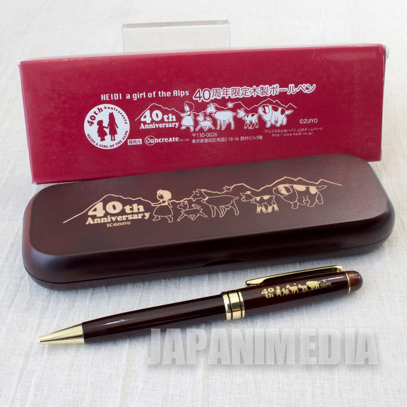 Heidi Girl of the Alps Wooden Ballpoint pen & Wooden Case 40th Anniversary JAPAN ANIME