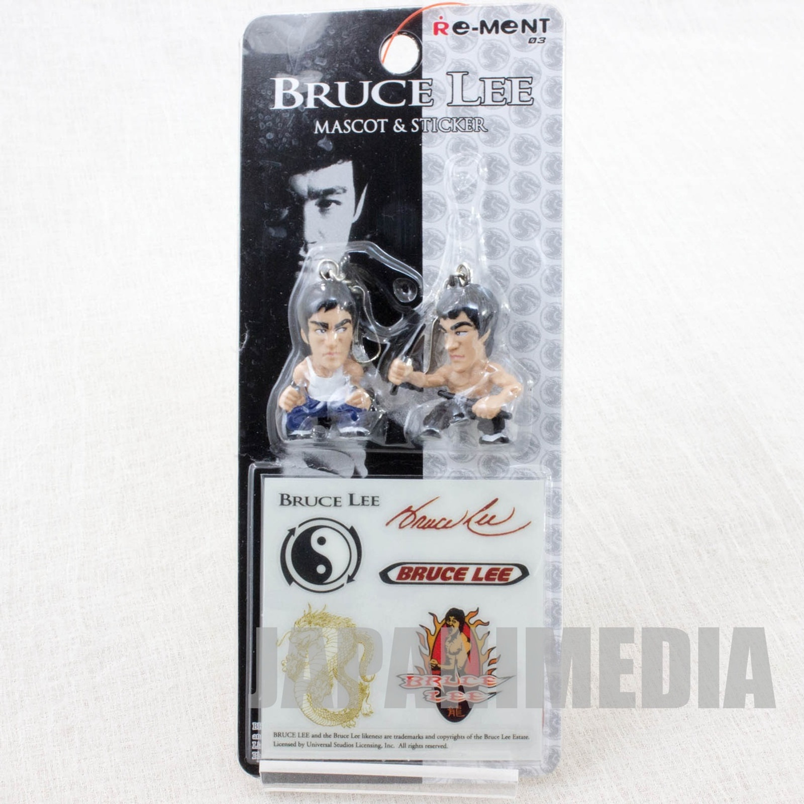 BRUCE LEE Mascot charm 2pc & Sticker Set Re-Ment JAPAN