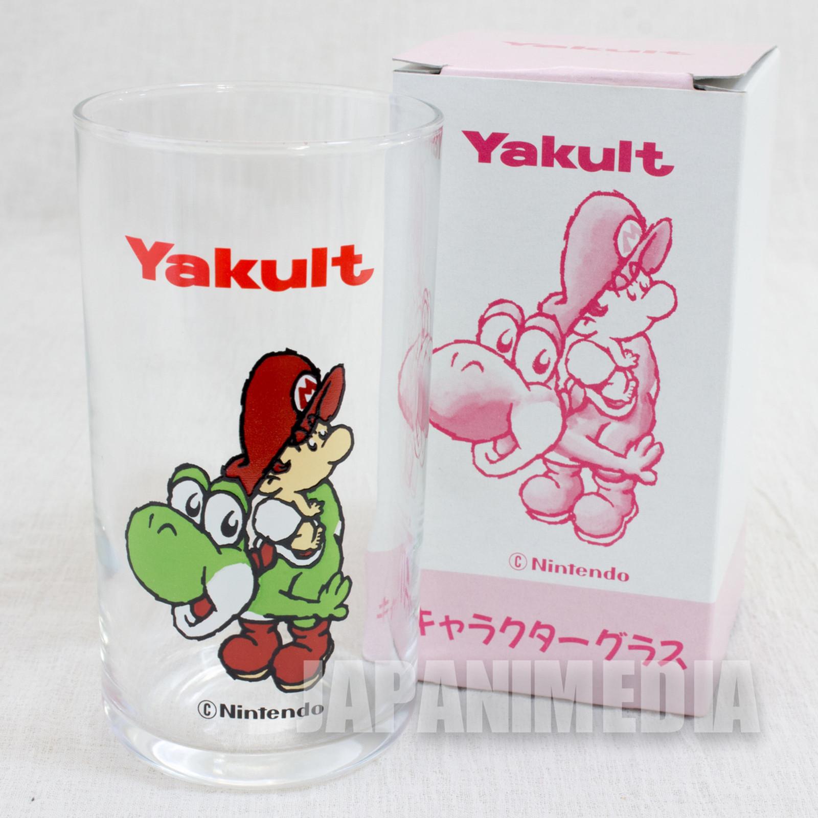 Retro RARE Super Mario Bros. Baby Mario on Yoshi Glass JAPAN GAME FAMICOM