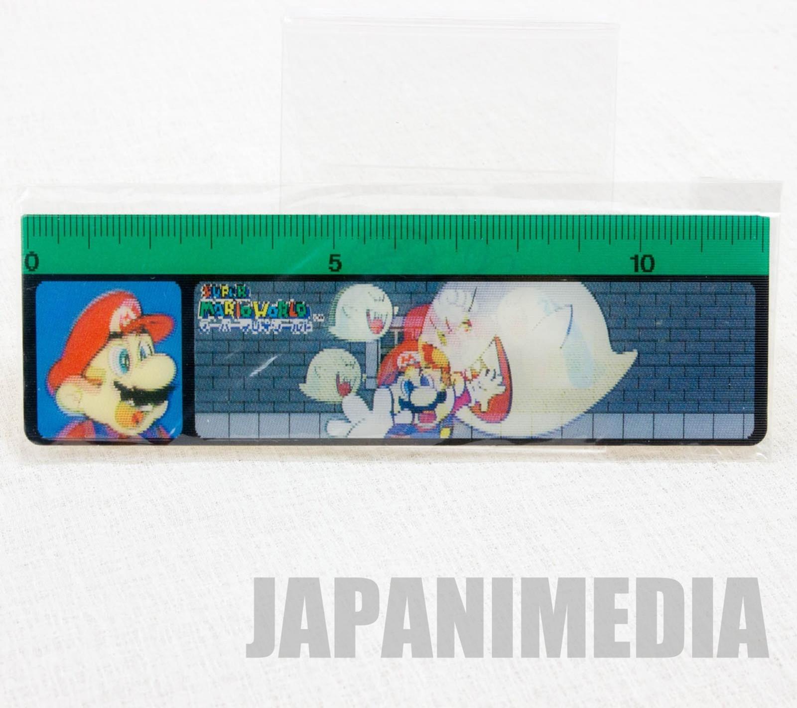 Retro RARE Super Mario World ruler 12cm [Mario & Boo] JAPAN GAME