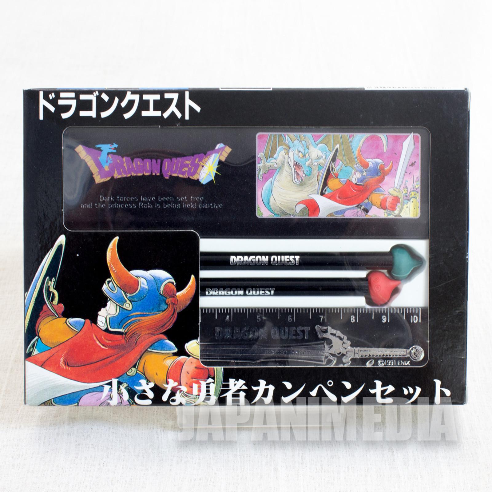 Retro RARE Dragon Quest Mini Stationery set Enix 1991 [Pen Case / Pencil / Ruler ] JAPAN GAME NES