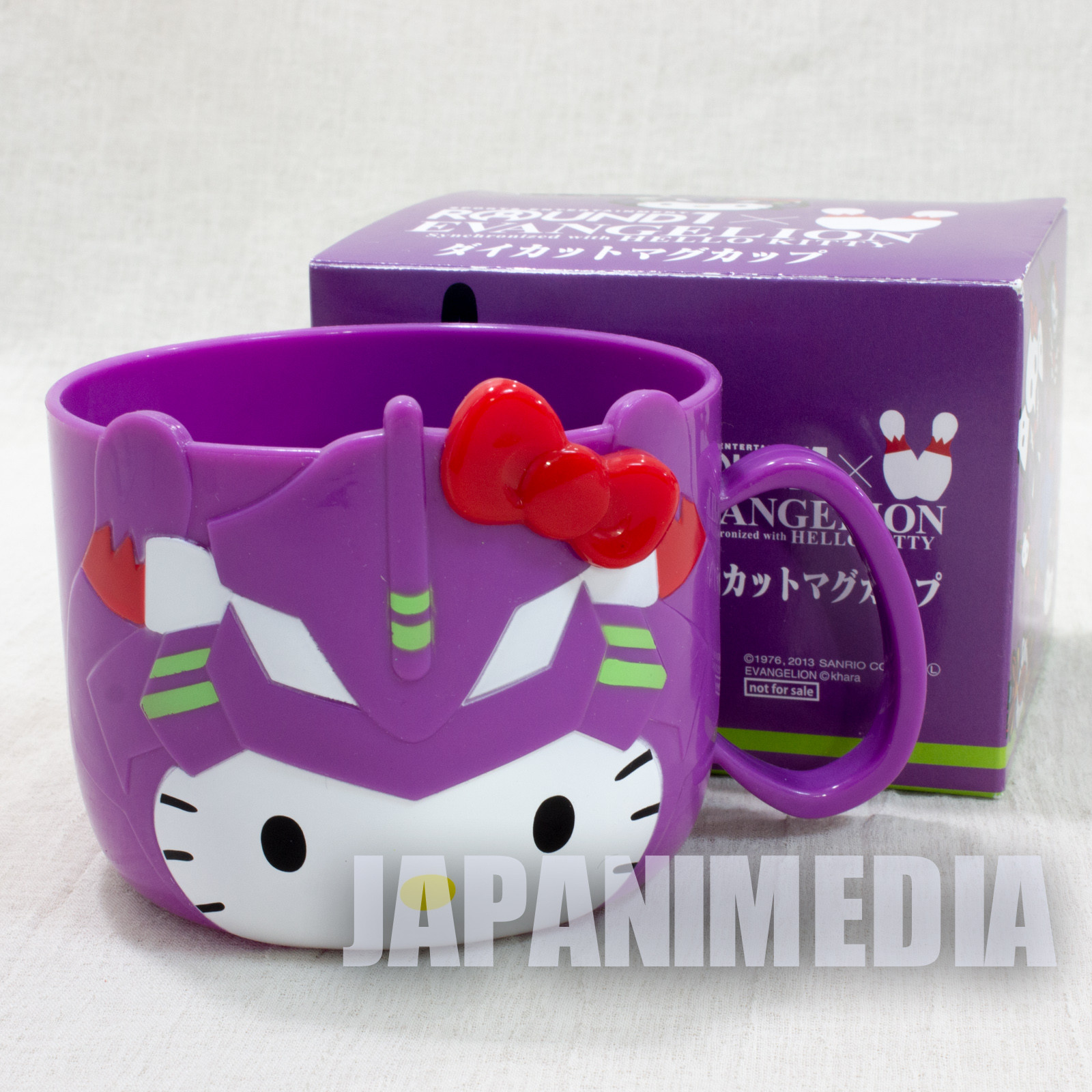 Evangelion EVA01 x Hello Kitty Plastic Mug JAPAN ANIME MANGA