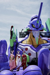 """Evangelion"" The world's first ""Eva ride""  in Kyoto."