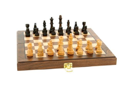 "Walnut Chess Set Inlaid 12"""
