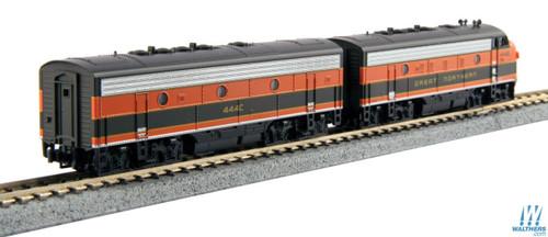 EMD F7 A-B Set - Standard DC -- Great Northern #444D, 444C (Omaha Orange, green)