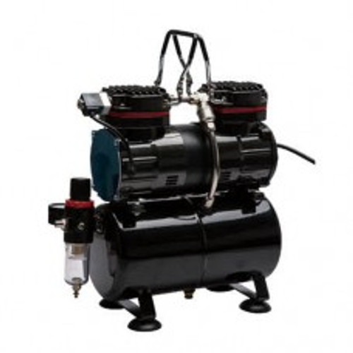 Dual Piston Airbrush Compressor with Air Tank