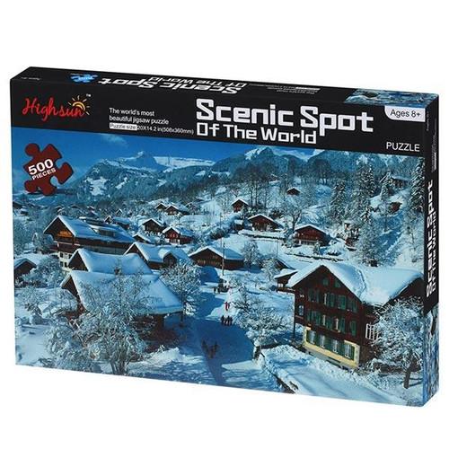 Scenic Spot Snow Chalet 500 Piece Puzzle