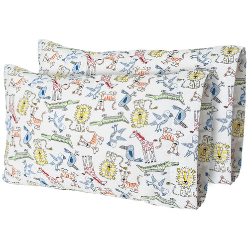 "12""x 18"" Day at the Zoo Printed Travel Pillow Pillow Case (2-Pack)"