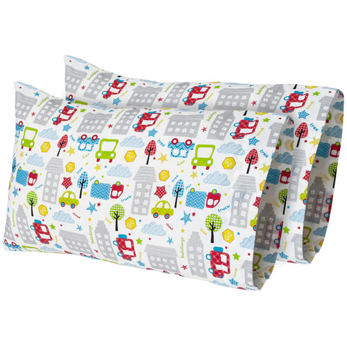 "12""x 18"" Tiny Town - Printed Travel Pillow Case (2-Pack)"