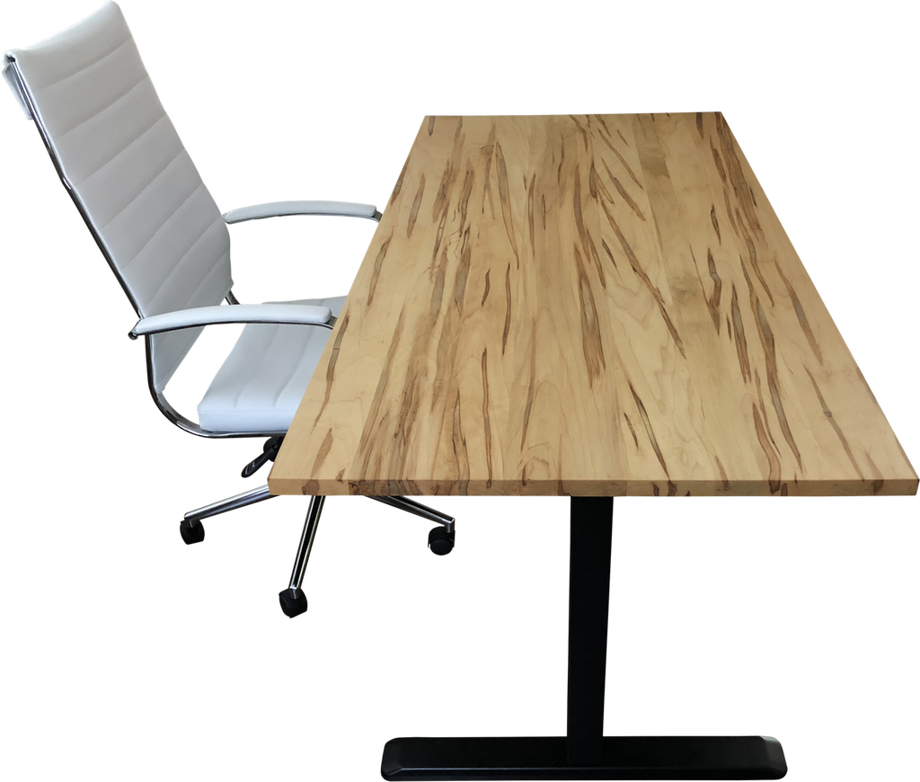 Ambrosia Maple Desk Top with Chair and Standing Desk Frame