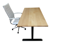 Hard Maple Desk Top with Standing Desk Frame and Chair