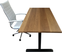 White Oak Desk Top with Chair and Standing Desk Frame