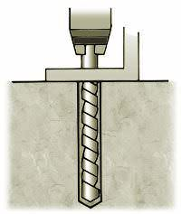 Hammer wedge anchor into hole deep enough so that threads are below surface of base material.