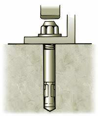 """Drill hole 1/2 """" deeper than wedge anchor embedment using a carbide tipped bit. (Hole size is wedge anchor size)."""