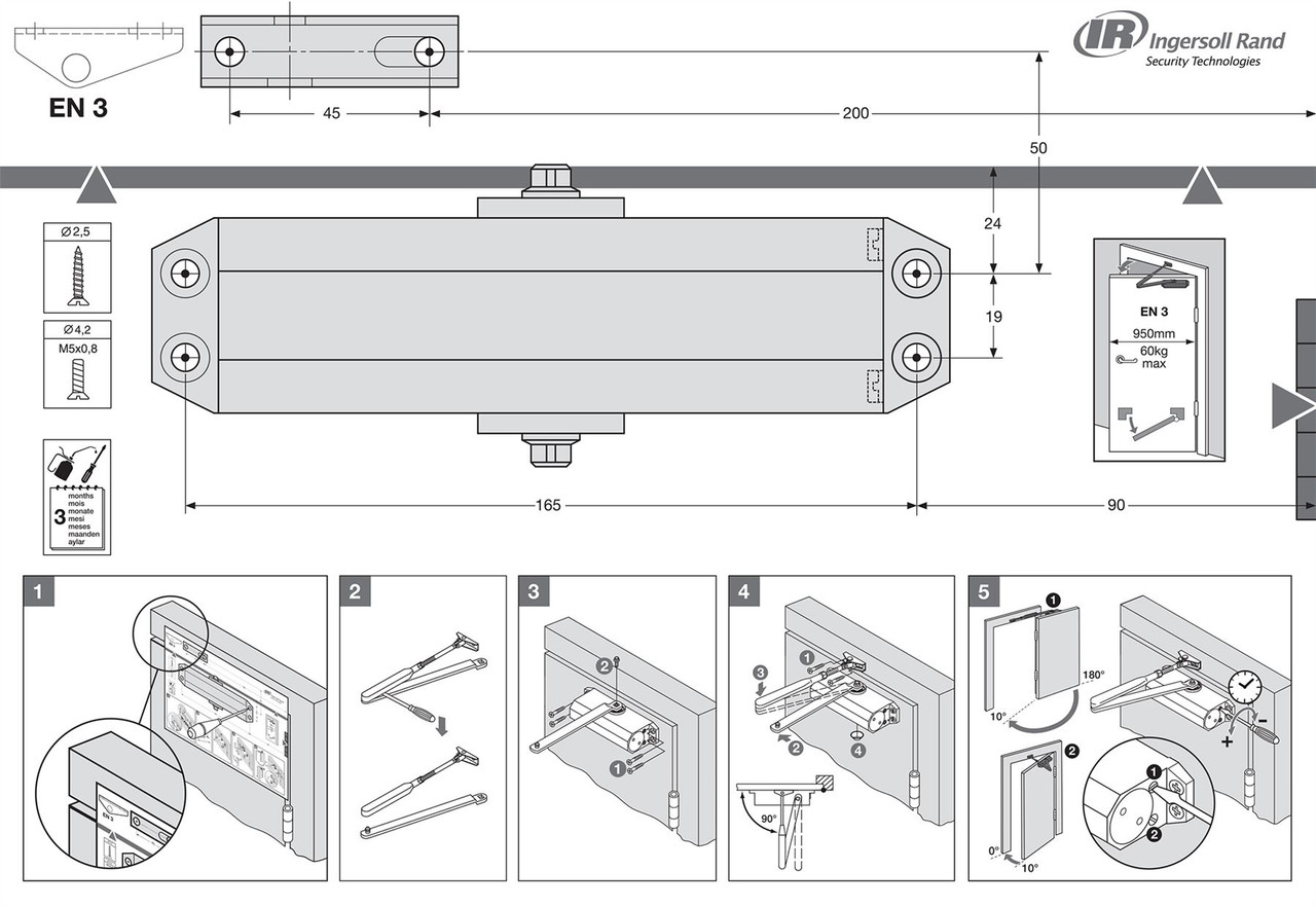 BRITON Metal FIRE Rated Door Closer Overhead Automatic Size ...