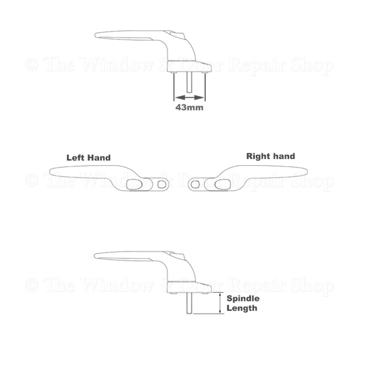 Key Lock Left or Right 1 x Left 30mm White Sparta 2 Cranked UPVC Window Handle Espag Locking