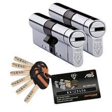 Avocet ABS 3 Star Keyed Alike Pair Anti Snap Euro Cylinder UPVC Front Door Lock  TS007