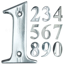 "UAP 3"" Screw Fixed Stainless Steel Door Numbers Polished Chrome"