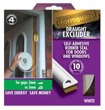 10m White Stormguard P Profile Window & Door Draught Excluder