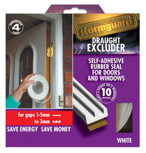 10m White Stormguard E Profile Window & Door Draught Excluder