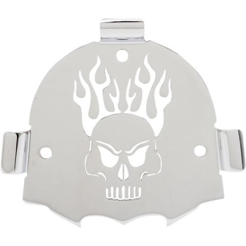 Cobra Chrome Backrest Insert For Round Backrests Skull (02-5071)