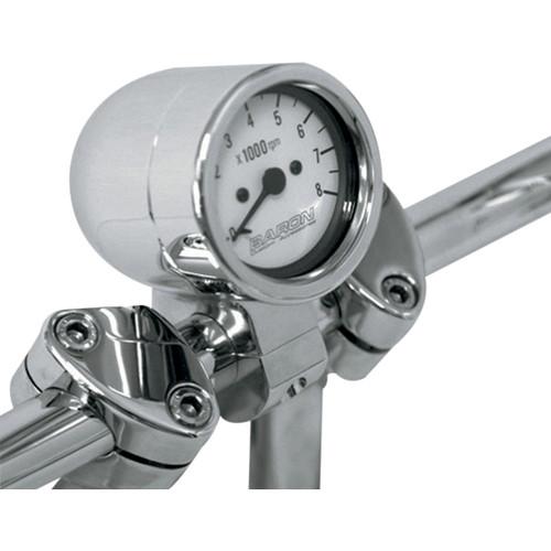 "Baron Bullet Tachometer White Face 1"" Handlebar (BA-7570-00)"