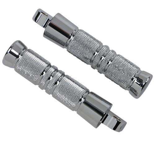 """Accutronix Knurled Footpegs Chrome w/Male Mount 5.25"""" Length (RP111-KGC)"""