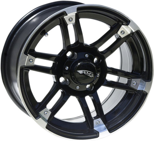 AMS Roll'n 104 Aluminum Rear Wheel 12X7 4/110 2+5 Machined Black (0230-0634)