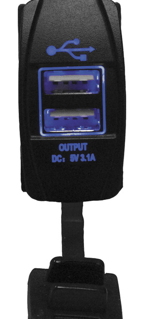 DragonFire Laser Etched LED Switch USB Charging Port w/Blue LED (04-0082)