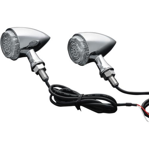 Kuryakyn Torpedo LED Single Function Turn Signals Chrome w/Amber LED (2508)