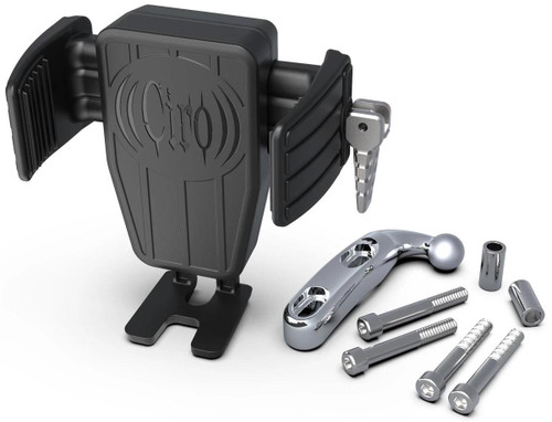 Ciro Cybercharger Phone Holder w/Wireless Charger w/Chrome Perch Mount (52310)