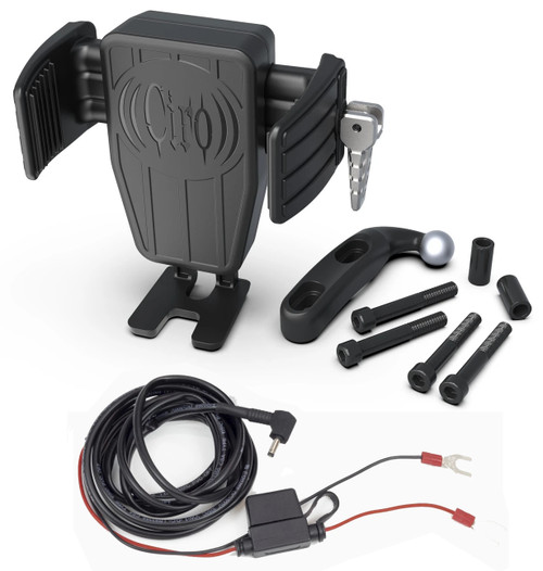 Ciro Cybercharger Phone Holder w/Wireless Charger w/Black Perch Mount (52311)