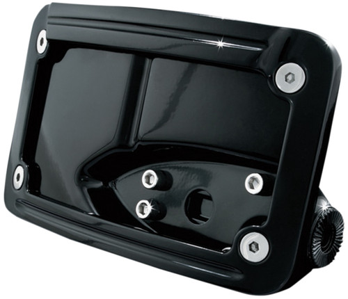Kuryakyn Gloss Black Horizontal Curved Side-Mount License Plate Holder (3125)