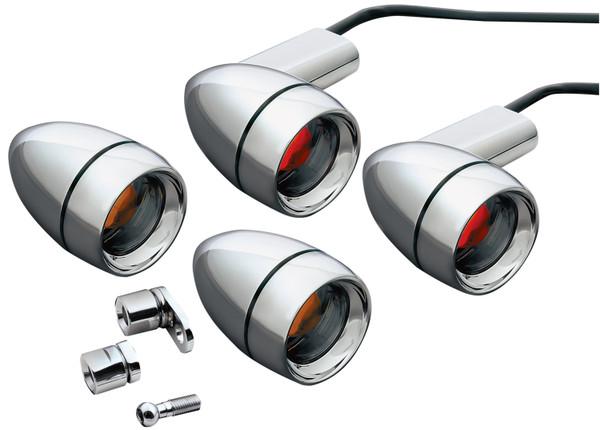 Kuryakyn Late-Style Chrome Turn Signal Kit with Amber/Red LED Lights (2317)