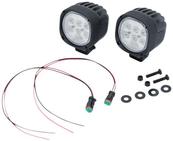 Kuryakyn Lodestar 1850L Black Spot Beam Driving Lights w/ White LEDs (3010)