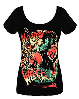 Twisted apparel wicked bitch of the west girls ladies emo punk gothic scene t shirt