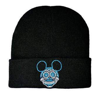Twisted mickey sugar skull beanie hat