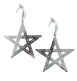 Over sized Gothic Stainless Steel STAR earrings